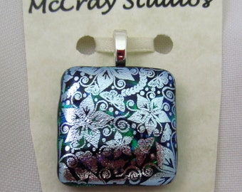 Silver Lily double fused dichroic glass pendant Flower dichroic overlay emerald green dichroic fused glass jewelry dichroic pendant jewelry