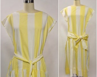 Laura Ashley Yellow Striped Cotton Dress | 1980s 1990s Vintage Sleeveless Dress | Size Large