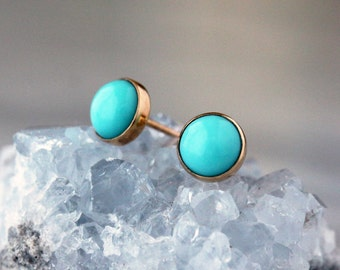Turquoise and Gold Stud Earrings, 14k Yellow Gold Post, Turquoise Studs, Gold Turquoise Earrings, Classic Stud Earrings, 6mm Size Dot