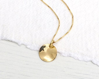 Hammered Disc Pendant in 18k Yellow Gold, Eco Friendly, Handmade in the UK