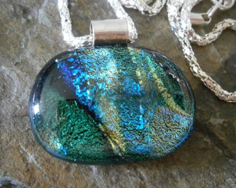 Dichroic Glass Pendant in Teal Dreams on Chain, Dichroic Jewelry, Dichroic Pendant, Willow Glass