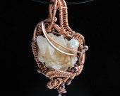 Quart Crystal cluster Copper Wire Wrap Pendant