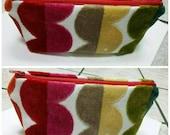 Colorful Fun Velvet Dots Zipper Pouch Makeup Jewelry Travel Bag