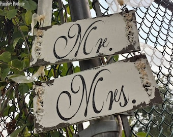 Wedding Chair Signs | Mr and Mrs Wedding Chair Signs | Bride and Groom | Chair Signs | Signs for Wedding Chairs | Sweetheart Table| | Rustic