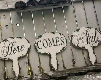 Here Comes Your Bride | Ring Bearer Sign | Flower Girl Sign | Wedding Signs | Rustic Wedding | Reversible | Wooden Chalkboard | Photo Props