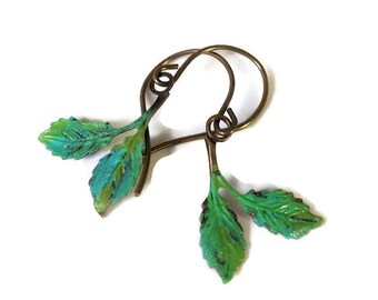 Leaves Earrings Painted in Verdigris Patina Nature Themed Jewelry Botanical Earrings Lightweight Earrings Casual Jewelry