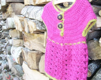Roselette  - CROCHET PATTERN for girls sweater size Newborn to 10 years old
