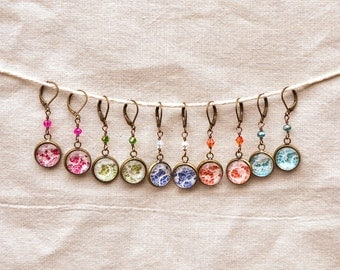 Brightly Colored Lace dangle earrings for bridesmaids, gifts, holidays, etc.