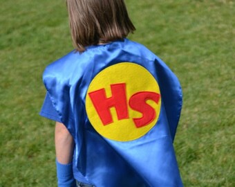 KIds Superhero Cape Personalized Costume KidCapes w/  2 letters Customizable