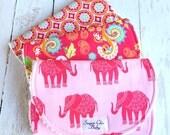 Burp Cloths for Baby Girl  - Set of 3 Triple Layer Chenille  -  Bohemian Burp Cloths -  Pink Madhuri Elephants, Boho Floral & Red Medallion