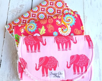 Burp Cloths for Baby Girl  - Set of 3 Triple Layer Chenille  -  Bohemian Burp Cloths -  Pink Madhuri Elephants, Boho Floral & Red Medallion