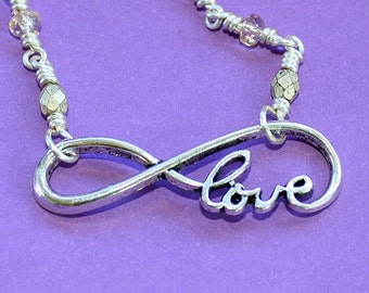 Love Infinity Necklace - Wire Wrapped Czech Glass Bead Chain