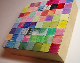 Abstract painting, colored squares, original art, Michigan Summer, Modern Abstract, acrylic, lake painting, cradled panel