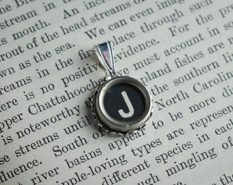 Initial TYPEWRITER Key PENDANT Letter J Black or Light Jewelry Vintage Unique Gift
