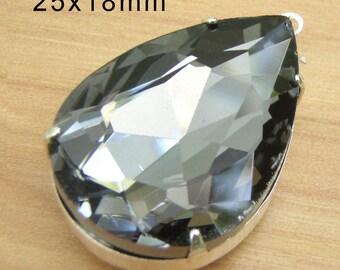 Black Diamond Glass Pendant, Pear or Teardrop, Silver Plated Brass Setting, Gray, 25mm x 18mm, 25x18, Glass Bead, Rhinestone, Glass Jewel