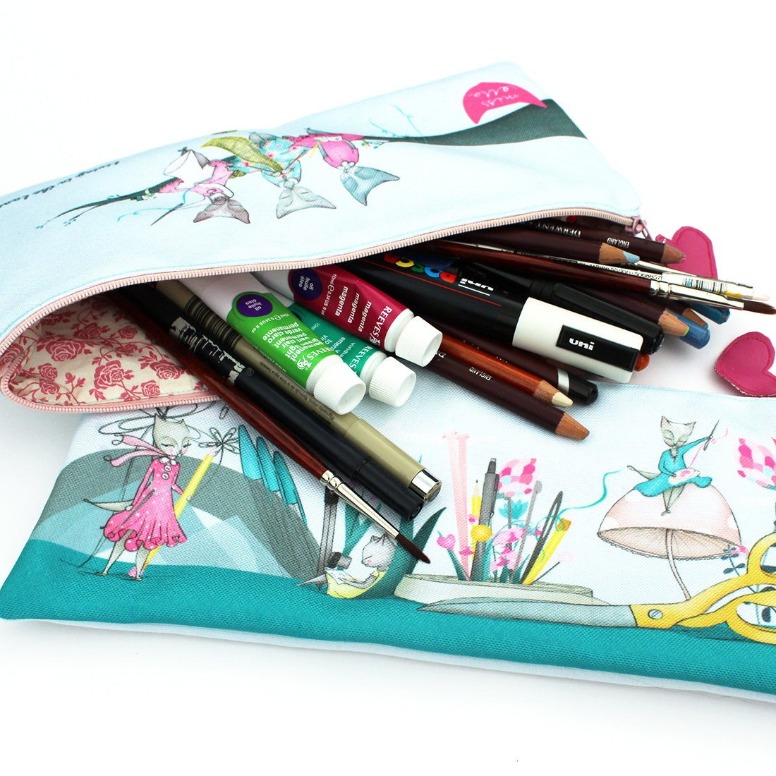 Cat Pencil Case kit DIY double sided illustrated by ...