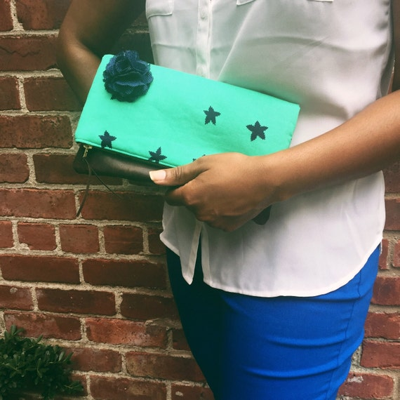 Foldover Clutch, Leather Clutch, Blue Stars Leather Clutch Purse, Clutch Handbag, Evening Clutch, Fold Over Leather Bag