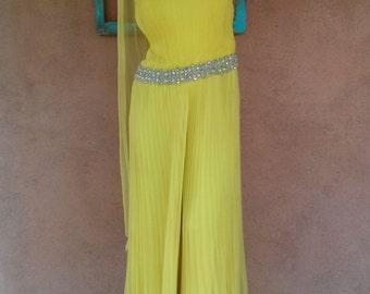 Vintage 1960s Jumpsuit Palazzo Yellow Chiffon Rhinestones US4 B32 W28 2012319