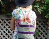 Vintage Striped WOVEN Tooled Leather BACKPACK Bag