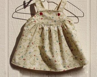 Small Tossed Flowers Cotton Newborn Dress