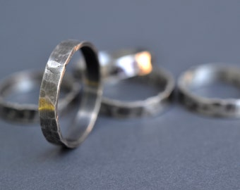 Rustic Textured Band- foged silver wedding band