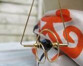 1980s Long Wire Earrings, Large Vintage Geometric Earrings, Gold Toned Elegant Dangle Earrings