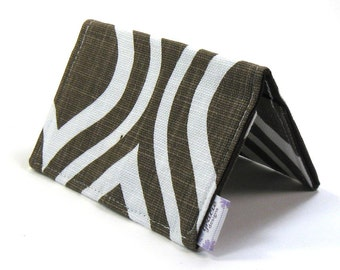 Mini Wallet / Card Holder / Business Card Holder / Card Case / Gift Card Holder/ Small Wallet - Chocolate Mod Fabric