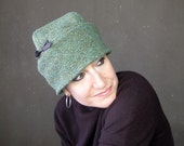Womens winter hat, green wool tweed beanie with soft rollable brim, wool cloche hat, packable travel hat, sewn fabric skullcap : Incognito