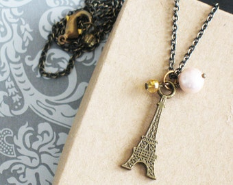 Eiffel Tower Charm Necklace With Pink Pearl. Jewelry For Women. I Love Paris.  J'aime Paris Necklace