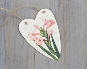 Tin Heart Tag with Pink Day Lily, Shabby Home Decor