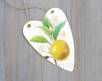 Decoupaged Heart Gift Tag, Ornament, Redoute Lemon Art