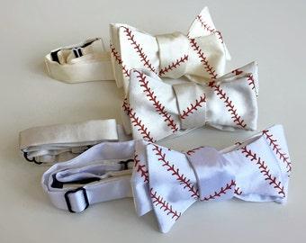 Baseball bow tie. Baseball stitching print men's bowtie. Sports fan, coach gift. White, cream, platinum & more. Rust red print.