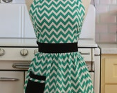 Retro Apron Green and White Chevron CHLOE