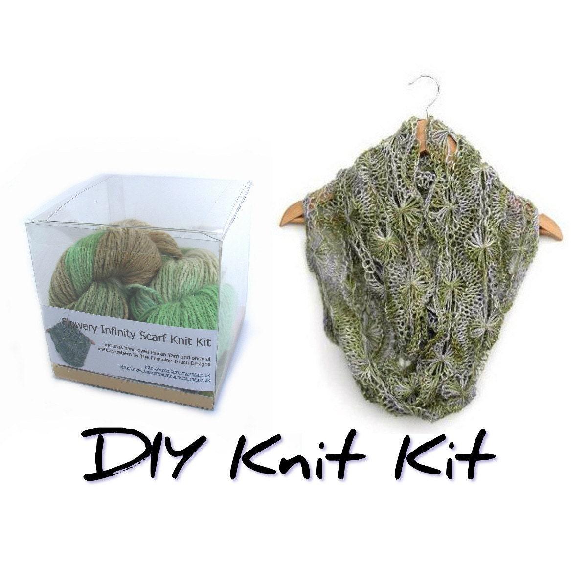 Scarf Knitting Kits Uk : Diy knit kit flowery infinity scarf knitting easy