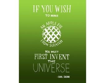 8x10 Carl Sagan Quote, Apple Pie Art Print, Inspirational Quote, Inspiring Space Illustration, Educational Art Poster, Kids Astronomy Decor