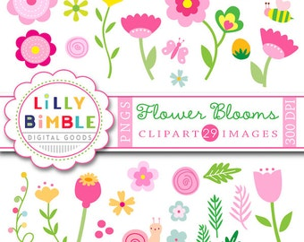 60% off Flower Blooms clipart floral clip art flowers, bulbs, snail, butterfly, leaves, Instant Download pink, commercial use