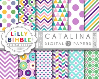60% off Catalina Summer digital papers in Purple, radiant orchid, with chevron, polka dots, Scrapboooking, cards, invites, Printable Downloa
