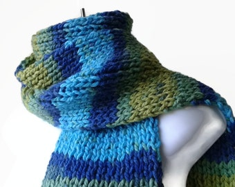 Knit Classic Scarf Blue Green Yellow Ombre Stripe Scarf, Vegan Rib Knit Men Women Unisex FELIX Ready to Ship - Autumn, Winter Fashion