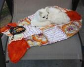 Catnip Fish Mat, Orange Cat Bed, Cat Blanket, Catnip Mat, Fish Cat Blanket, Handmade Cat Bed, Fish Quilt, Pet Mat, Travel Cat Bed, Crate Mat