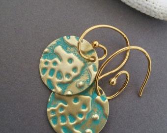 Turquoise Sea Horse Brass Embossed Earrings, Embossed Earrings, Turquoise Earrings, Sea Horse Earrings
