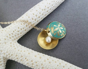 Turquoise Brass Ocean Locket with Pearl, Pearl Locket, Brass Locket, Embossed Locket