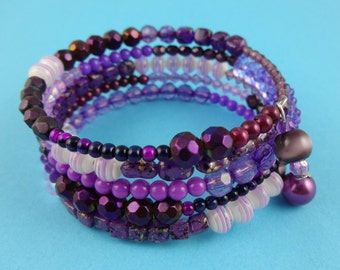 Purple Memory Wire Bangle - Stacked beaded coils bracelet with mixed beads in purple, mauve and lilac - boho gypsy wrap around layered look