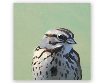 Song Sparrow 4 x 4 Wings on Wood Decor