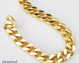 4.5mm x 4mm Bright Gold Flat Curb Chain #CC95