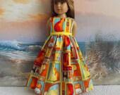 Kidz n Cats Doll Clothes Debbie Mumm Fabric Orange Yellow and Aqua Kitty Medley Long Dress