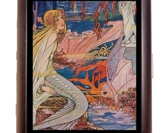 Mermaid Fairytale Cigarette Case Business Card Wallet MP3 Holder Mermaids Nautical Fairy Tale Storybook Art Nouveau Deco Fantasy