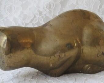 Vintage Solid Brass Cat Feline Mid Century Figurine Paperweight Collectible