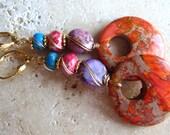 Colorful Jasper Earrings* Orange Donut Jasper Earrings* Dangle Earrings* Gold* Under 25* August Finds*