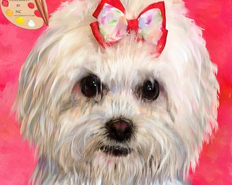 Maltese Portraits I Custom Maltese PortraitsI Maltese Painting From Your Photo I Dog Portraits by NC