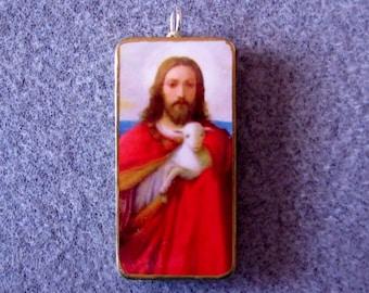 Jesus Shepherd Holding Lamb Catholic Art Recycled Domino Pendant Necklace SHP7